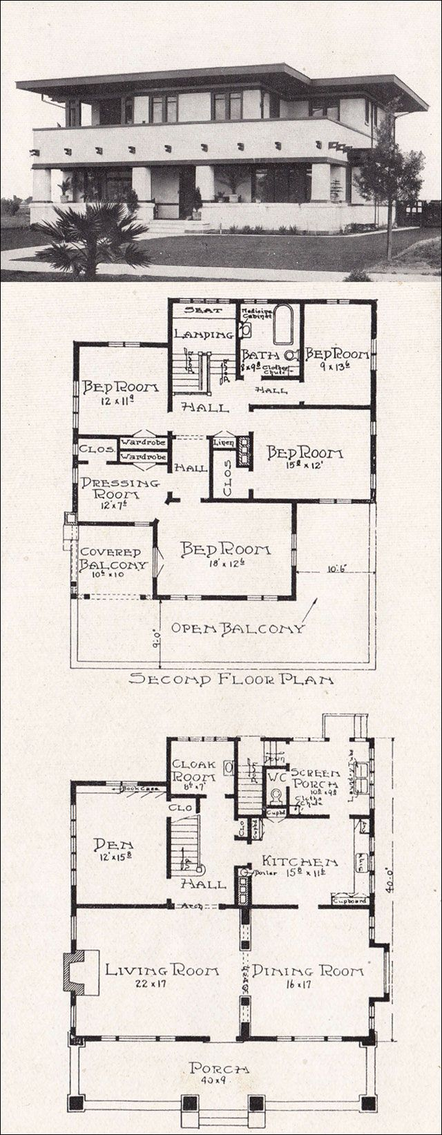 Plan No. R-810 c. 1918 Representative California Homes by E. W. Stillwell Prairie Style
