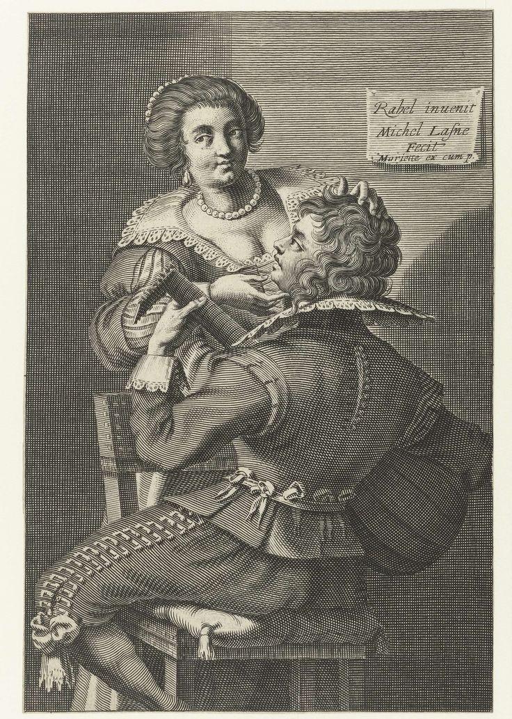 Michel Lasne | Luitspeler en vrouw, Michel Lasne, Daniel Rabel, Mariette, 1600 - 1667 | Een luitspeler zit omgekeerd op een stoel, op de rug gezien. Voor de jongeman een staande vrouw met laag decolleté, parelsnoer en oorbellen, die hem over de haren streelt.
