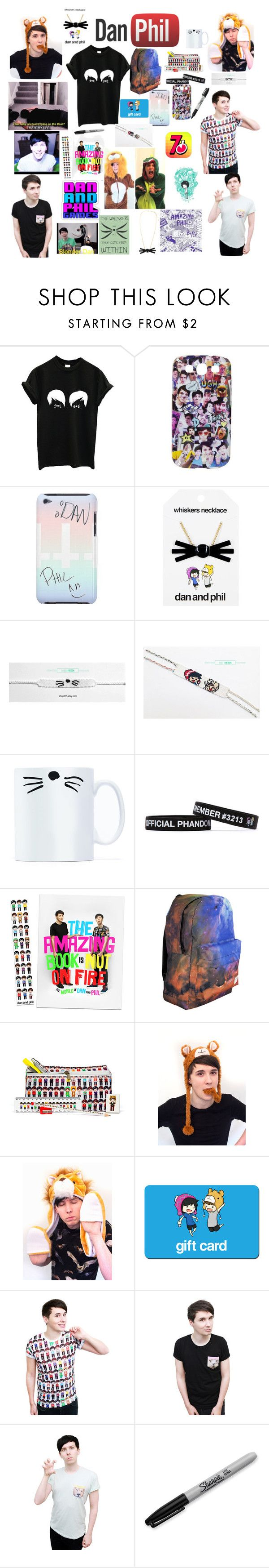 """""""dan and phil merch and stuff"""" by molleighderp ❤ liked on Polyvore featuring Sharpie"""
