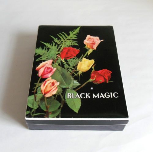 Vintage-60s-BLACK-MAGIC-Chocolate-Box-Empty-Roses-on-Black-Confectionery