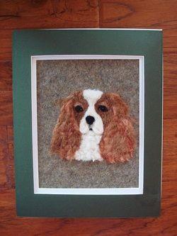 Wool art, needle felt art, wool painting, needle felted art, lavender fields, needle felted painting, needle felt ,dog portrait, cavalier king charles, custom dog portrait, custom portrait