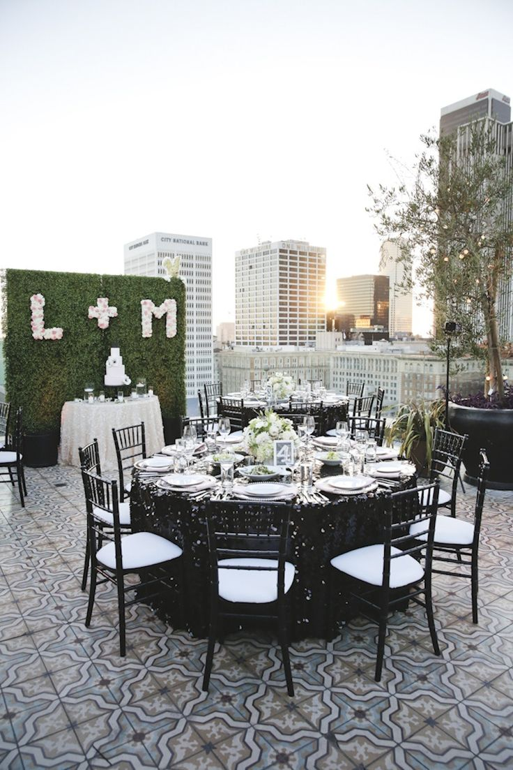 Modern Rooftop Wedding   Design: Lady Liberty Events www.ladylibertyevents.com  Photography: John & Collette Photography - illuminatedbride.com  Read More: http://www.stylemepretty.com/california-weddings/2014/04/08/modern-rooftop-wedding-in-downtown-los-angeles/: