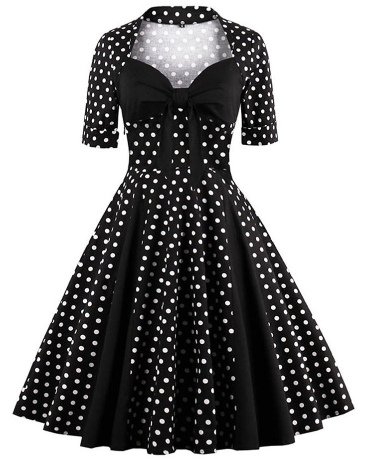 Black Vintage 1950s Polka Dots Rockabilly Dress