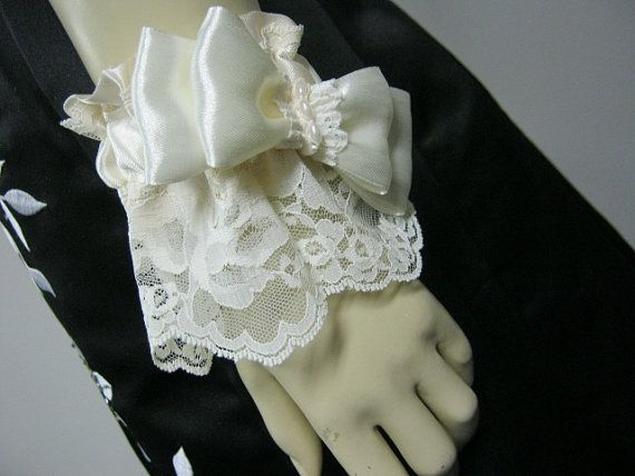 Satin Ivory Cuff with Chantilly Lace by bridesstudio on Etsy