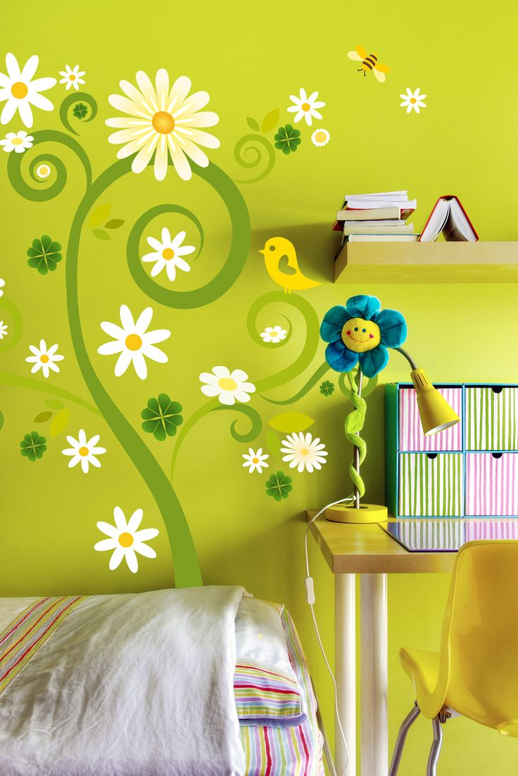 photo sticker arbre fleuri chambre d'enfant