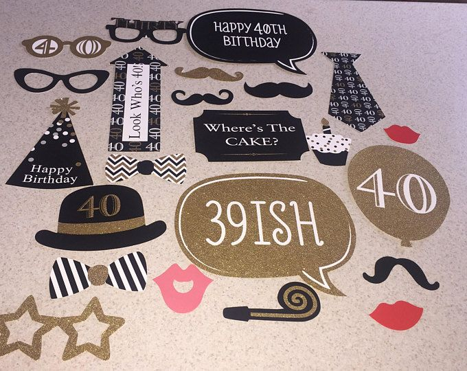 40th birthday Photo Booth Props 24 Piece Set - Party Photo Props - birthday Party Favor,40th props , 40th birthday props