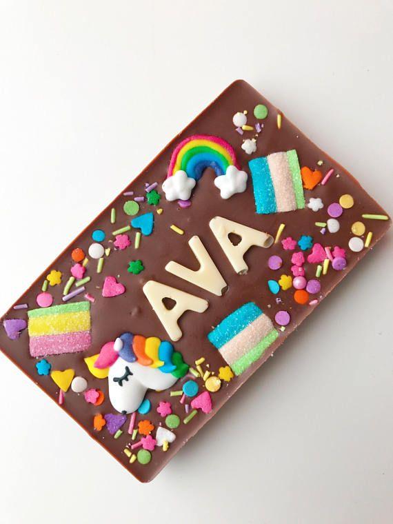 Unicorn chocolate personalised chocolate bar
