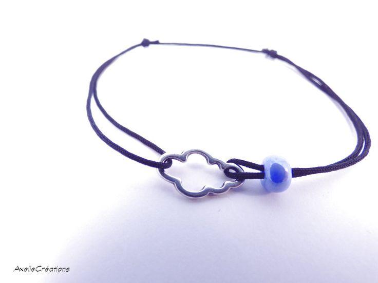 Bracelet nœud coulant- Bracelet nuage et perle  - Bracelet ajustable - Bijoux créateur de la boutique Axellecreations sur Etsy