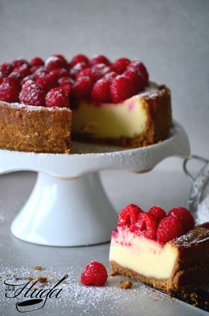 Tarta de queso con frambuesas - Las mejores recetas de Huga