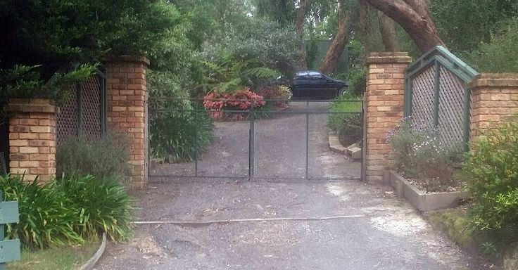 Private gated entry pillars. posts and walls