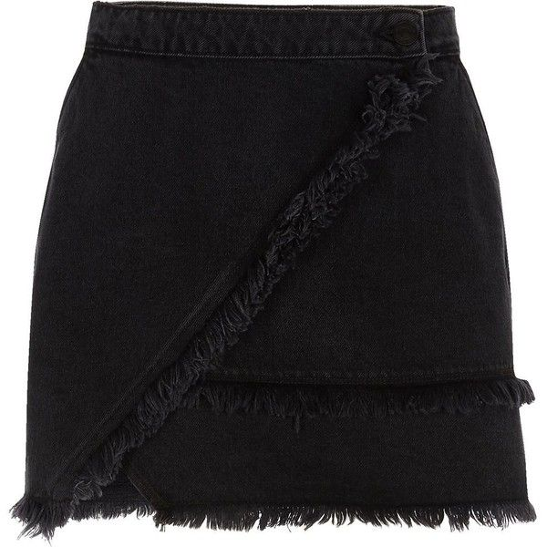 River Island Black frayed trim denim mini skirt (396605 PYG) ❤ liked on Polyvore featuring skirts, mini skirts, black, women, wrap skirt, denim mini skirts, wrap mini skirt and short mini skirts