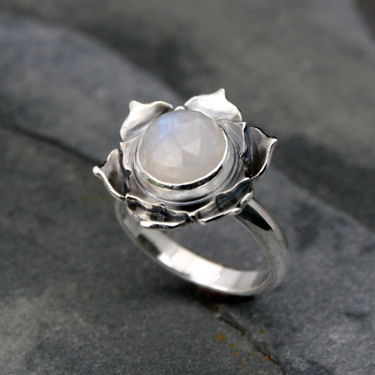 Moonstone Lotus Ring, Sterling Silver Statement Ring, Cocktail Ring, Faceted Rose Cut Gemstone, Luminous Lotus Flower, Rainbow Moonstone by KiraFerrer on Etsy https://www.etsy.com/listing/212845928/moonstone-lotus-ring-sterling-silver