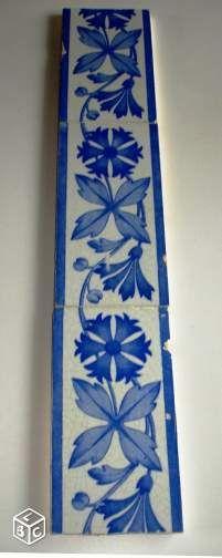 Frise 3 carreaux anciens en faïence Choisy-le-Roy