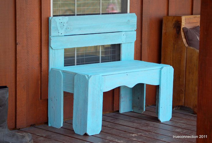 Wooden Bench. Entry Bench. Turquoise Blue Wood Furniture. Aqua Blue Bench.Wood Bench Farmhouse Furniture  Rustic Farm Decor. $399.00, via Etsy.