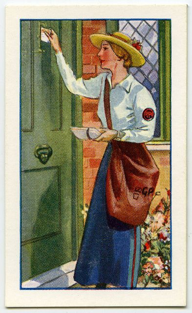"""1935 - """"Like all other great organisations the Post Office had difficulty maintaining its staff when the Great War took many of its workers to military service. Thousands of women and girls were recruited and the Postwoman, in her neat blue serge tunic and skirt and blue straw hat, became a familiar figure all over [Britain]. As the men returned/ after the War the number of post-women dwindled until there now remain about 570, working part-time where suitable male labour is not available.'."""