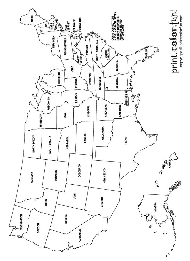 USA Coloring Page Labeled with States Names from Print