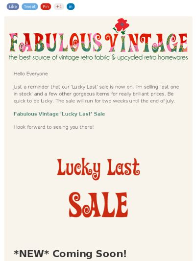 Fabulous Vintage 'Lucky Last' Sale. BE QUICK!