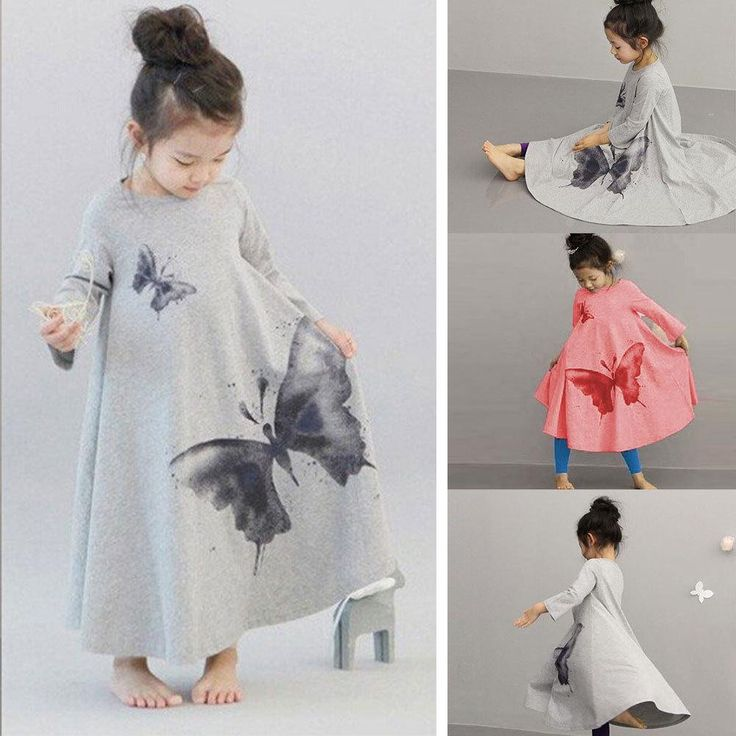 2015 Autumn Spring Girls Long Sleeve Butterfly Print Dress Kid Cotton Long Maxi Beach Dress For Children Online with $9.43/Piece on Vera89's Store | DHgate.com