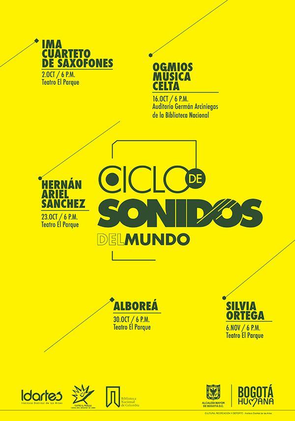 Afiche Ciclo de Sonidos del Mundo. Diseño: Ferney Rodríguez. Bogotá, 2014.