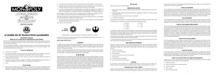 Instructions du jeu Monopoly : Inspiration pour la mise en page des explications de notre jeu ainsi que les règles et le but de celui-ci.