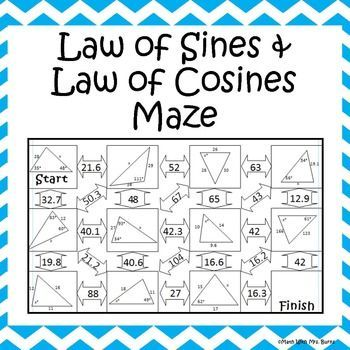Printables Law Of Cosines Worksheet 1000 ideas about law of cosines on pinterest trigonometry this self checking maze has 11 problems involving the sines and law