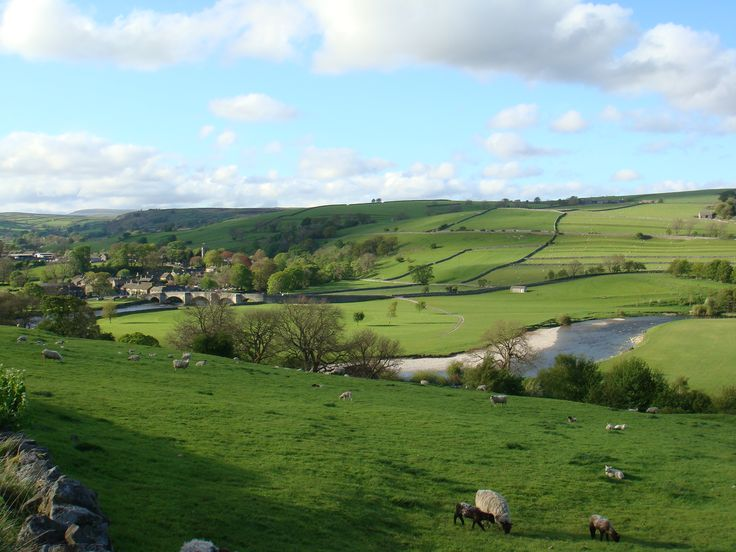 Village of Burnsall and ancient bridge over River Wharfe
