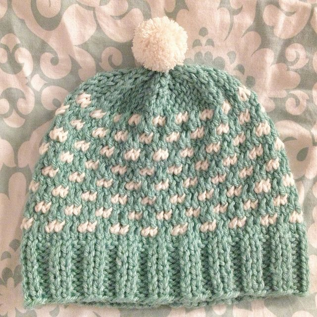 Free Pattern!  http://knitsbybritt.blogspot.com/2012/12/pretty-in-polka-dots-hat.html