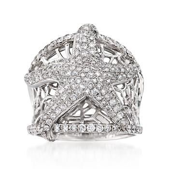 Ross-Simons - 1.55 ct. t.w. Pave Diamond Starfish Ring in 14kt White Gold. Size 7 - #828039