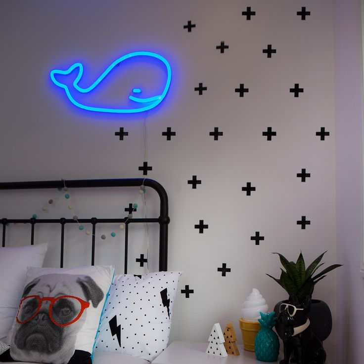 led neon sign whale blue home nursery night light lamp Willy copy