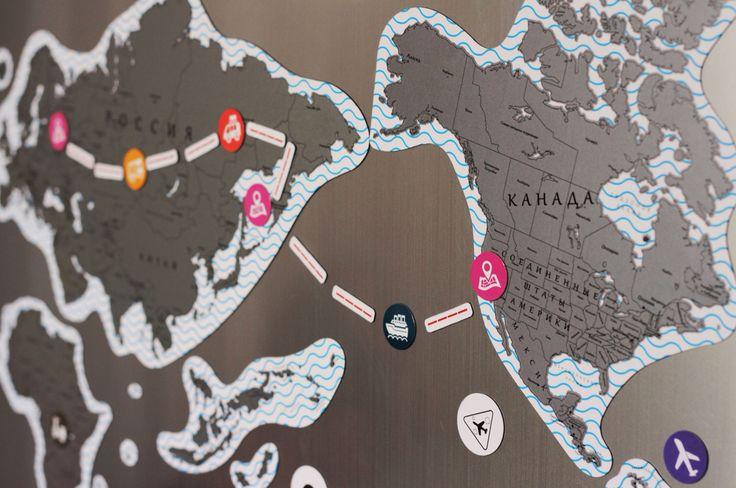 Магнитная карта мира TrueMap Puzzle - планируйте маршрут прямо на холодильнике!