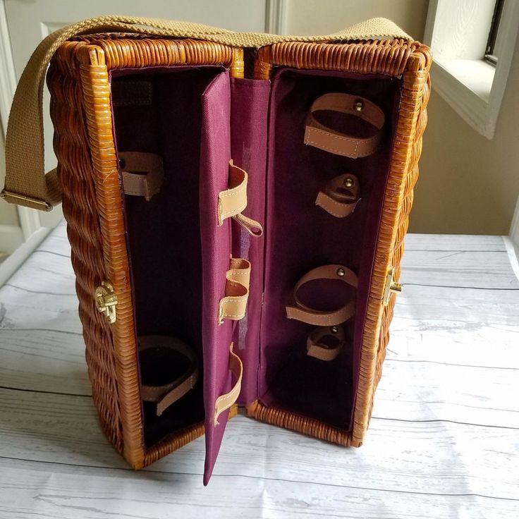 Empty Picnic Time Bacchus Wine Basket Wicker Carrier Tote EMPTY EUC Box #PicnicTime #picnic #wine #vino