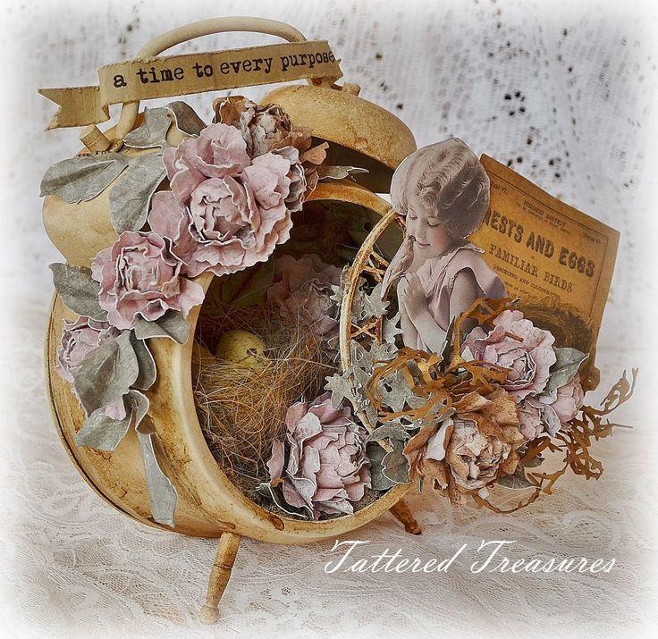 Tattered treasures altered clock a secret garden share for Garden treasures pool clock