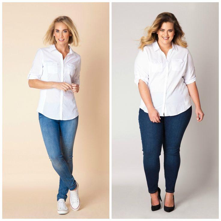 Yest en Yesta, gewone maten en grote maten, witte blouse op skinny