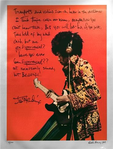 """Jimi Hendrix """"ARE YOU EXPERIENCED"""" orange metallic  © EDDIE KRAMER  """"This totally unique """"Orange Background"""" edition of Jimi Hendrix at Olympic studios in 1967 recording """"Are You Experienced"""", with the addition of the """"Golden Lyrics"""" in Jimi's own handwriting that has never been seen in public before. Printed on Silver Textured Paper. Evolved from a colorization and design process by AJNewton and myself from a B/W print."""" –EK"""