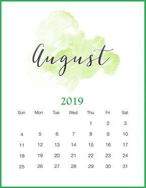Watercolor 2019 August Printable Calendar Sticar Pinterest