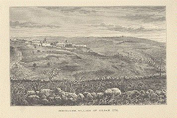 Jerusalem, Village of Siloam, Etc.  Wood engraving ca 1880.