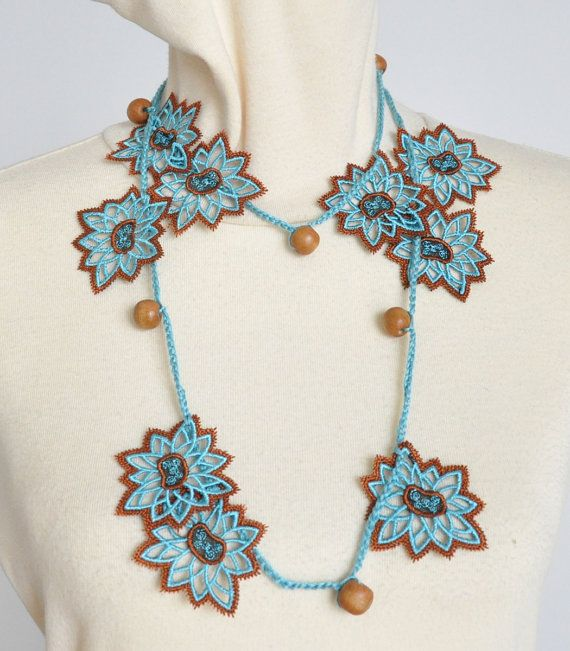 "Wood Beads and Lace Flower Lariat More in my shop ""jennysunny"" on Etsy"