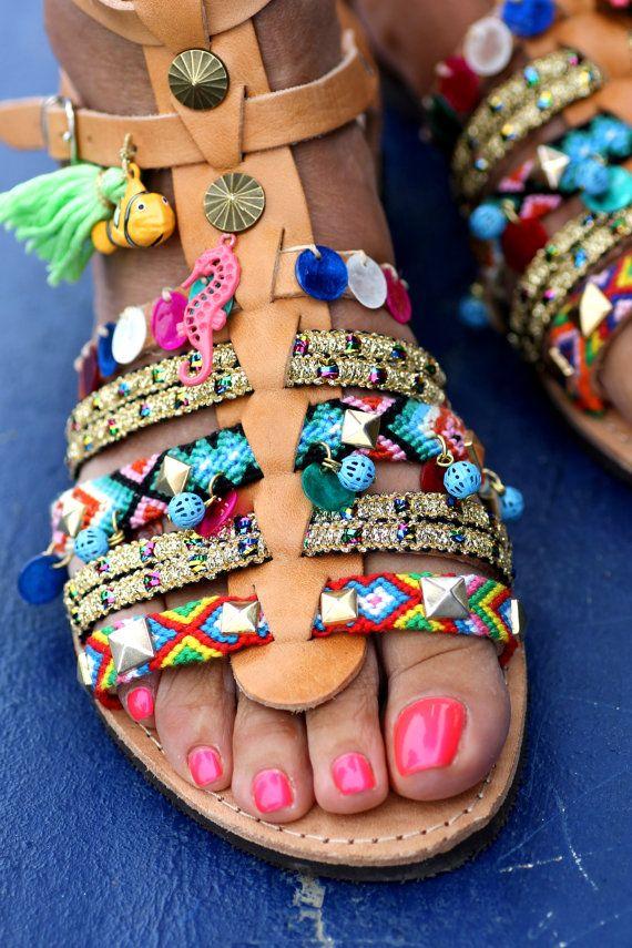 Sandales Spartiates Salée fait à la main à la par ElinaLinardaki