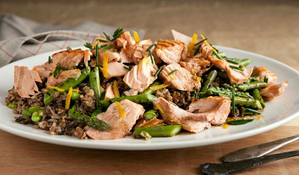 Brown Rice, Salmon & Asparagus Salad   By: Stefano Faita   With earthy flavours, this hearty brown rice and salmon salad in sweet citrus dressing is perfect dinner fare. Bring leftovers to work for a healthy, satisfying lunch.   From: .cbc.ca
