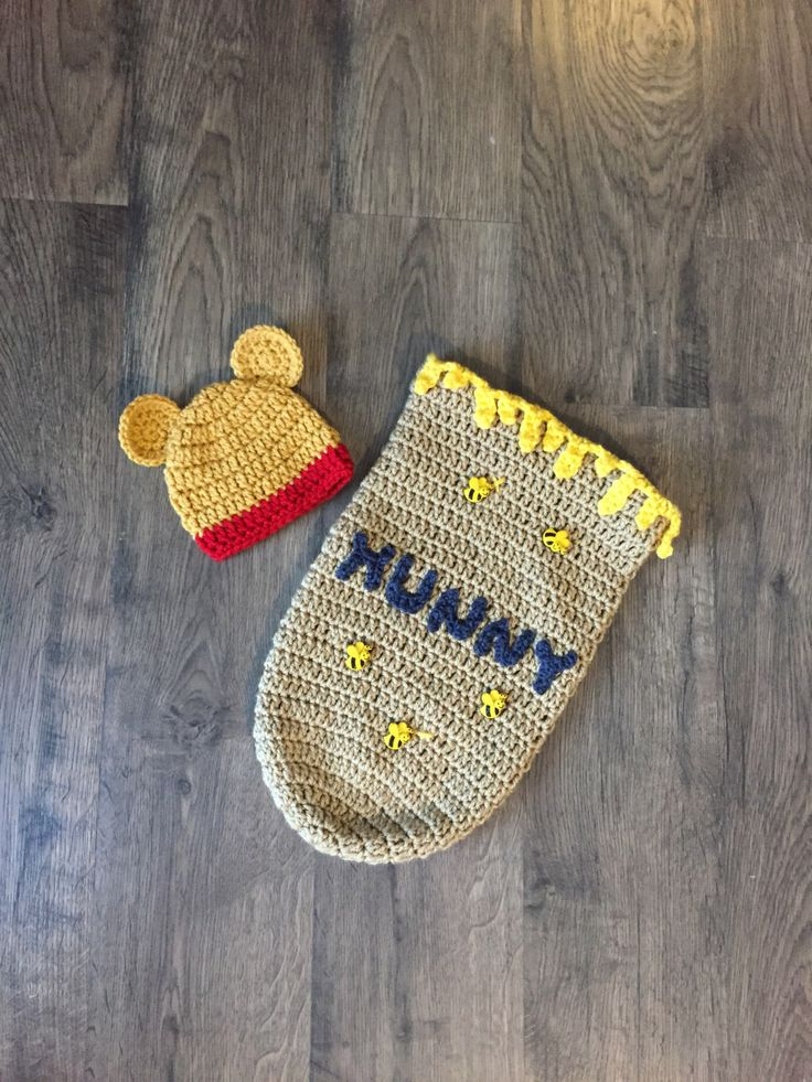 Newborn Winnie the Pooh Inspired Cocoon/Bunting & Hat Set Handmade Crocheted Made in the USA by BabyStitchesByMD on Etsy https://www.etsy.com/listing/483481963/newborn-winnie-the-pooh-inspired