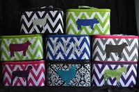 "Make up Cases are available in Zebra, Demask, Camo, Chevron, Polka Dot, and Aztec Prints. We can put a steer, heifer, lamb, goat, chicken, horse, pig, or FFA on the suitcases. Make up Case Dimensions are approximately: Small= 6""(h), 9""(w), 6""(d) Large= 7""(h), 11""(w), 8""(d) Cajun Bling Livestock Make Up Cases"