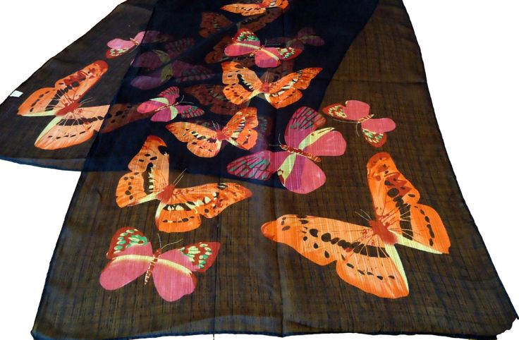 Vintage Scarf Black with Colorful Butterflies Sheer Large Scarves Shawl D34 by treasurecoveally on Etsy