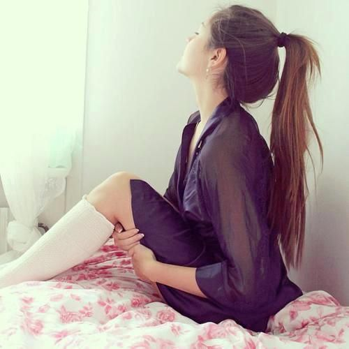 Basic, long ponytail. Sometimes the most effortless hairstyles are the prettiest.