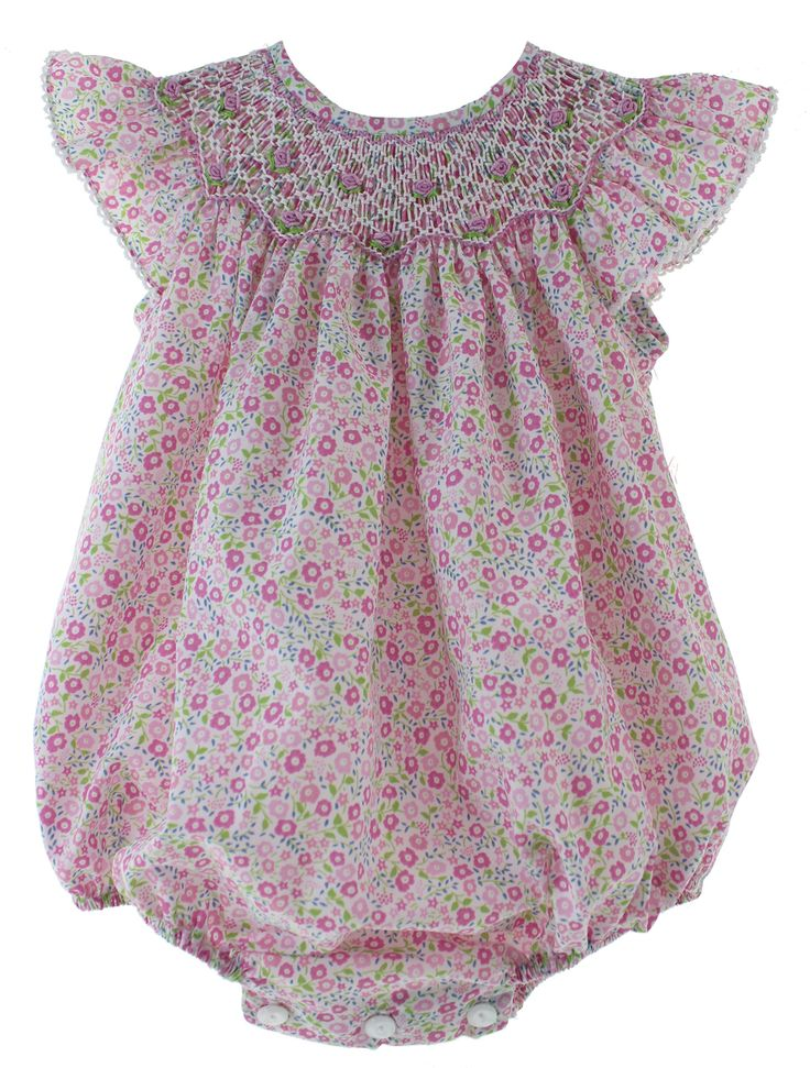 Hiccups Childrens Boutique - Baby Girls Pink Floral Smocked Bubble Outfit Angel Wing Sleeves   Petit Bebe, $52.00 (https://www.hiccupschildrensboutique.com/baby-girls-pink-floral-smocked-bubble-outfit-angel-wing-sleeves-petit-bebe/)