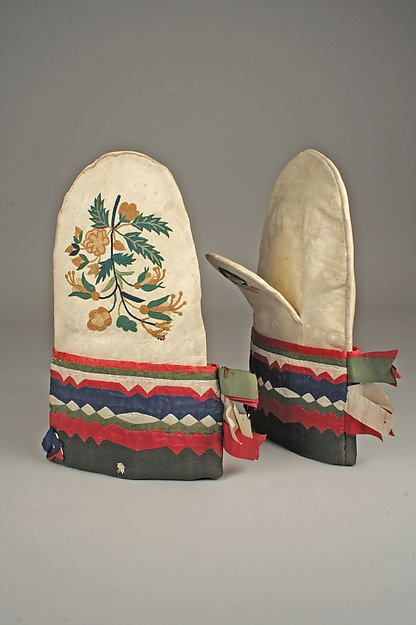 Pair of Mittens: Cree or Cree-Métis | Canada; Manitoba | 1850-1860 | Native-tanned skin, silk | Metropolitan Museum of Art