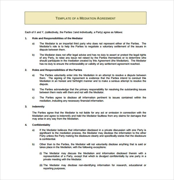 That Mediation Agreement Template Somewhat Simplifies The