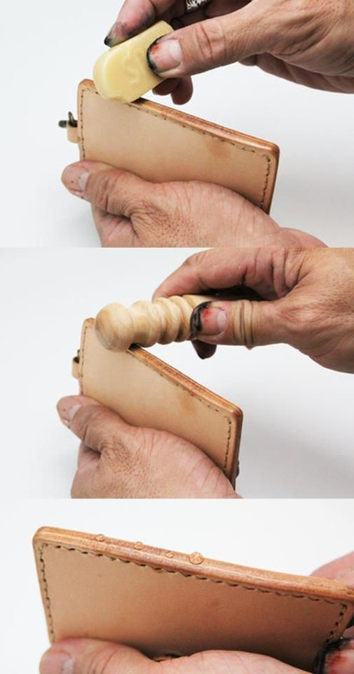 皮革邊緣的部份處理方式: 圖一: 先以邊蠟塗抹。 http://goods.ruten.com.tw/item/show?21105122057556 圖二: 磨緣器上面有4個不同尺寸的溝槽,選擇適當的溝槽來回用力滑動,就可以讓皮革邊緣平整滑順。 http://goods.ruten.com.tw/item/show?21101249609443 圖三: 並且會形成防水效果喔。