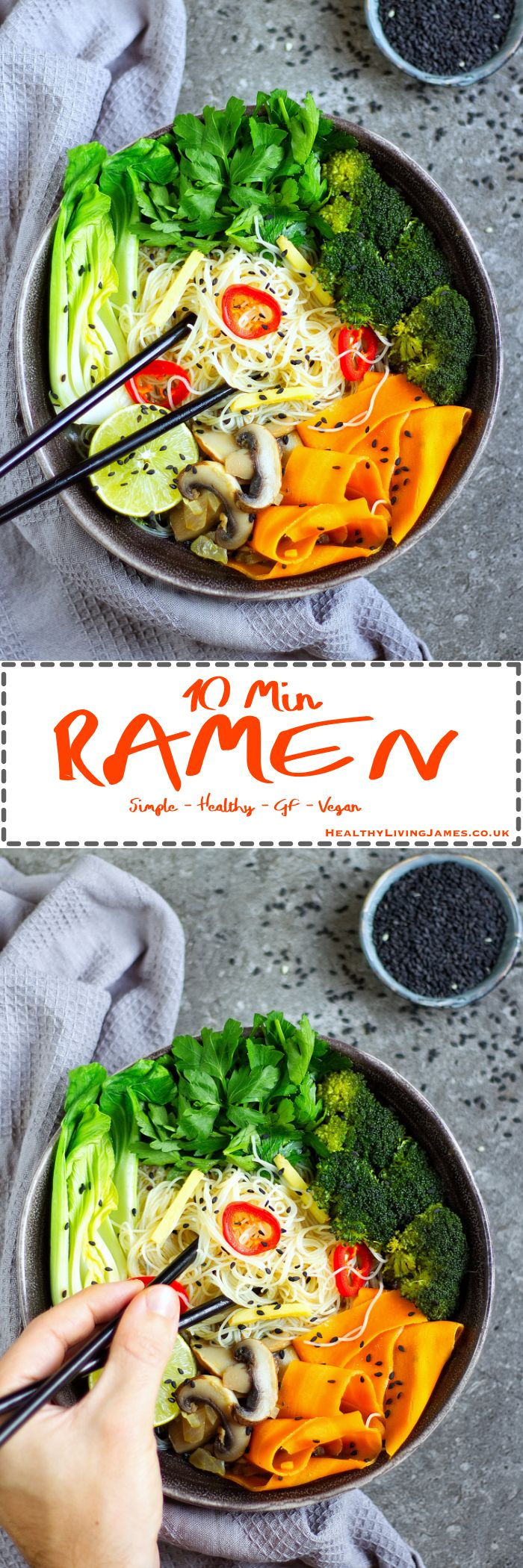 An extremely simple and healthy gluten free, vegan, dairy free, egg free ramen that you can make within 10 minutes! It is absolutely packed full of colour and flavour and perfect for a quick and tasty lunch or dinner!