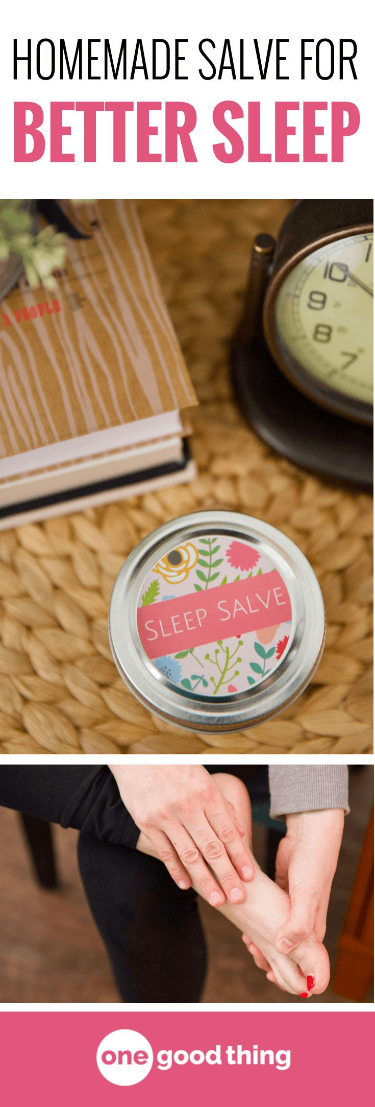 Learn how to make an all-natural Sleep Salve that will help you fall asleep and stay asleep. It's easy to make and apply, and it can also help soften dry, cracked feet! Smoother feet and better sleep? Sign me up! #naturalremedies #homeremedies #sleepremedies