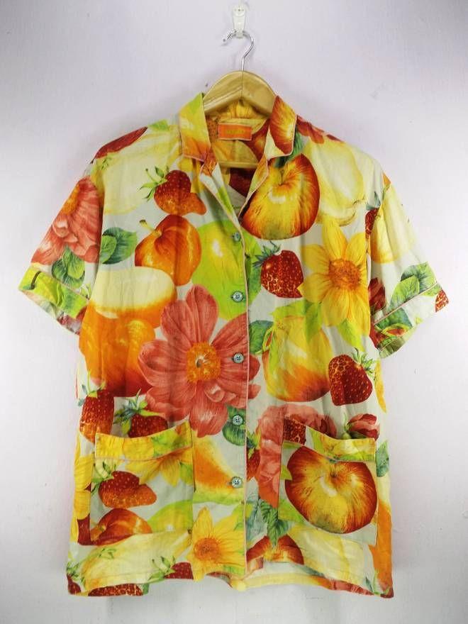 a8d174376 Kenzo Kenzo Hawaii Fruits Motif Rockability Pattern Abstract Hawaiian Shirt  Buttons Up Hawaii Surf Beach Wear Size M Size US M / EU 48-50 / 2